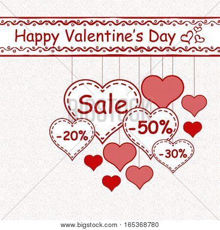Valentine`s day sale design template - Vector Illustration