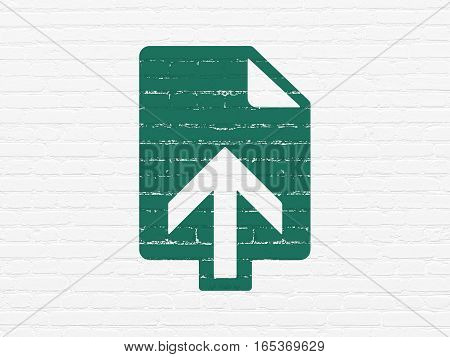 Web design concept: Painted green Upload icon on White Brick wall background