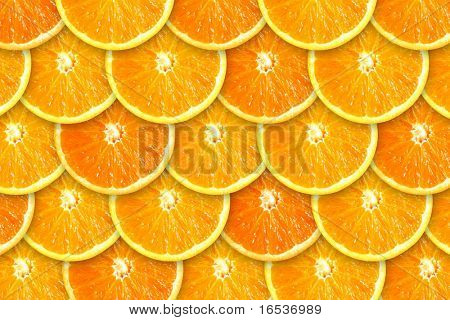 Background of rows of juicy orange slices