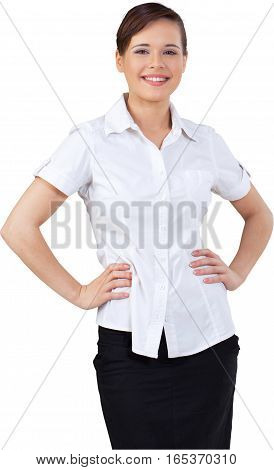 Happy Businesswoman Standing with Hands on Hips - Isolated