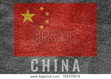 China Nation Flag On Jean Texture Design