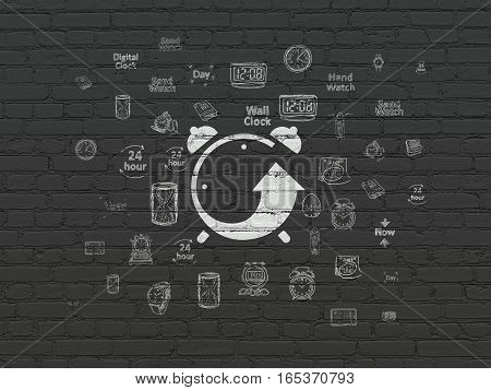 Timeline concept: Painted white Alarm Clock icon on Black Brick wall background with  Hand Drawing Time Icons