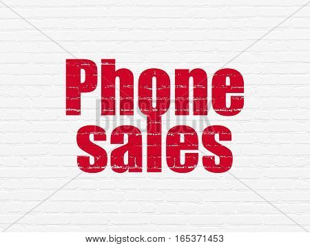 Advertising concept: Painted red text Phone Sales on White Brick wall background