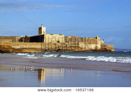 Coastal defense fortification in Carcavelos, Portugal