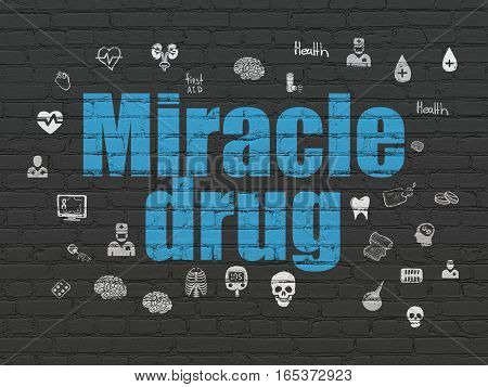 Healthcare concept: Painted blue text Miracle Drug on Black Brick wall background with  Hand Drawn Medicine Icons