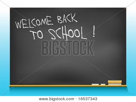 vector illustration of a school blackboard saying welcome back to school