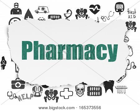 Medicine concept: Painted green text Pharmacy on Torn Paper background with  Hand Drawn Medicine Icons