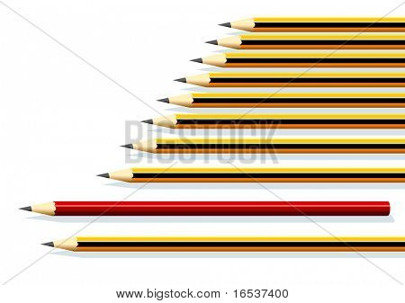 Illustration of a row of yellow pencils and a red one