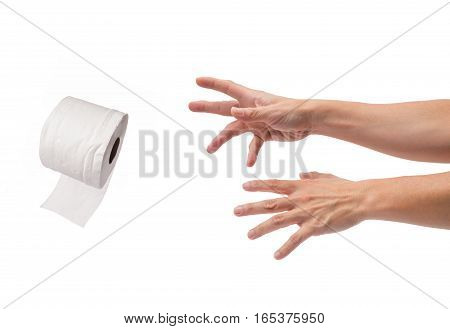 asian male hands reaching out for a roll of toilet paper on isolated white background