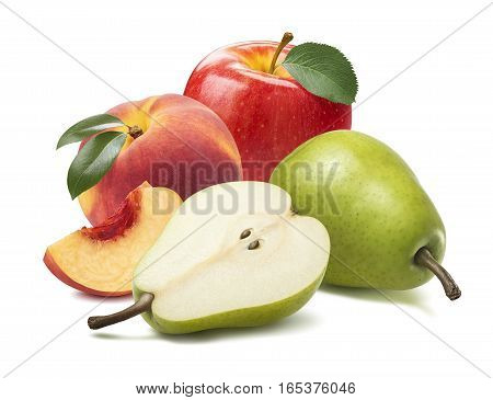 Pear apple peach piece isolated on white background as package design element