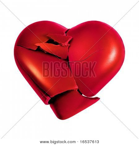 Photo with a broken heart isolated in white background