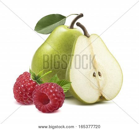 Green pears half raspberry isolated on white background as package design element
