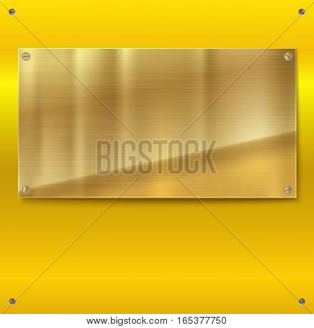Shiny brushed metal gold, yellow plate with screws. Stainless steel banner on yellow polished background, vector illustration for you