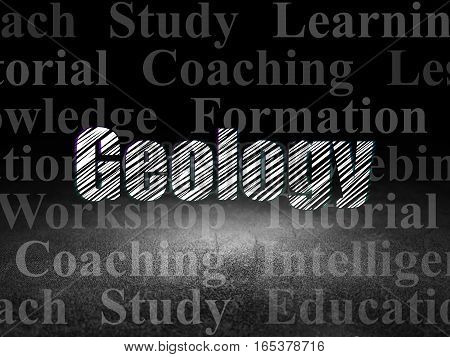 Learning concept: Glowing text Geology in grunge dark room with Dirty Floor, black background with  Tag Cloud