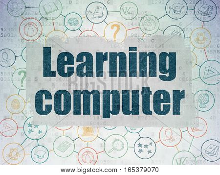 Learning concept: Painted blue text Learning Computer on Digital Data Paper background with  Scheme Of Hand Drawn Education Icons