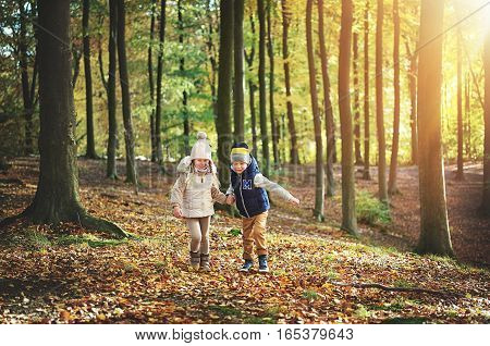Two Kids Walking Through The Green Forest