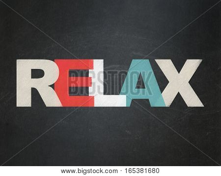 Entertainment, concept: Painted multicolor text Relax on School board background, School Board
