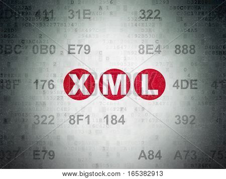 Database concept: Painted red text Xml on Digital Data Paper background with Hexadecimal Code