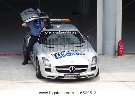 F1 safety car readies for Friday practice in Sepang Malaysia