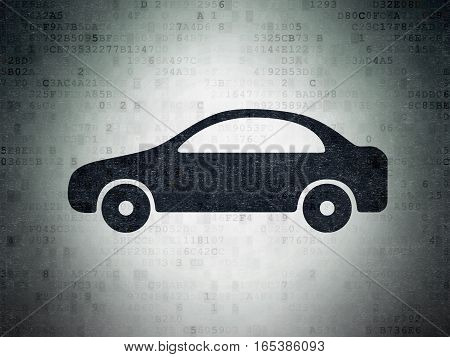Tourism concept: Painted black Car icon on Digital Data Paper background
