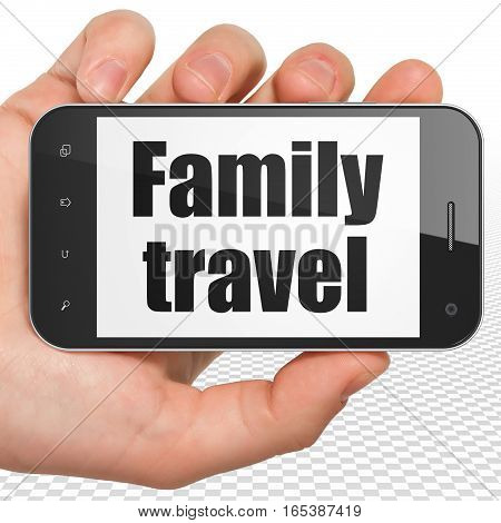 Travel concept: Hand Holding Smartphone with black text Family Travel on display, 3D rendering