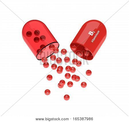 3D Rendering Of B2 Vitamin Pill With Granules