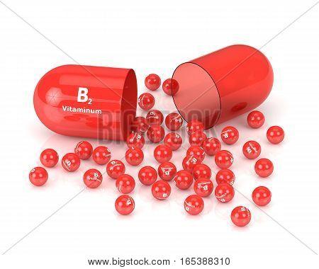 3D Rendering Of B2 Vitamin Pill