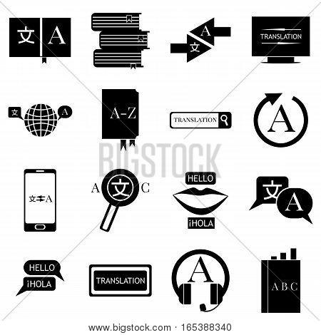 Translator profession icons set. Simple illustration of 16 translator profession vector icons for web