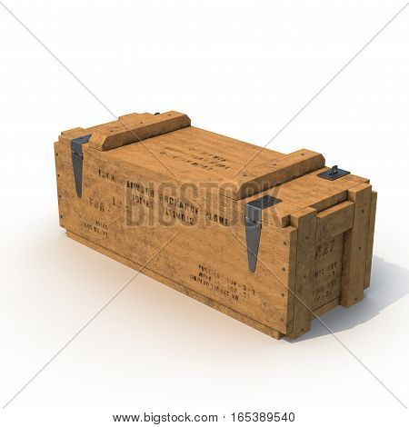 Military box with explosive isolated on white background. 3D illustration