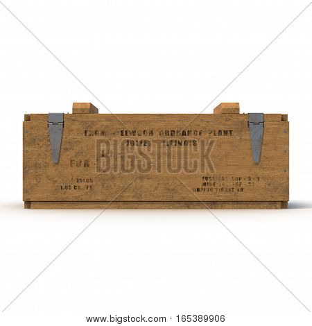 Side view Military box with explosive isolated on white background. 3D illustration