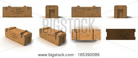 military old case box renders set from different angles on a white background. 3D illustration