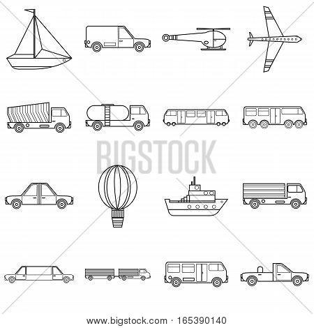 Transportation items icons set. Outline illustration of 16 transportation items vector icons for web