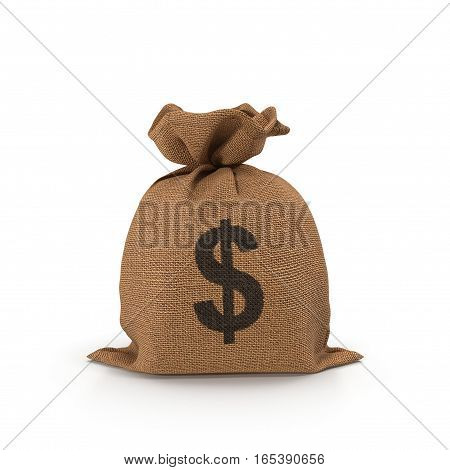 Canvas money sack with dollar symbol on white background. 3D illustration