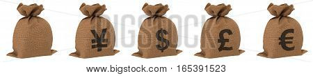 Sacks with money different currencies dollar euro yen and pound. Isolated on white background. 3D illustration