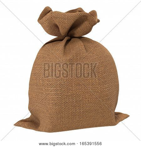 Canvas money sack with empty space on white background. 3D illustration