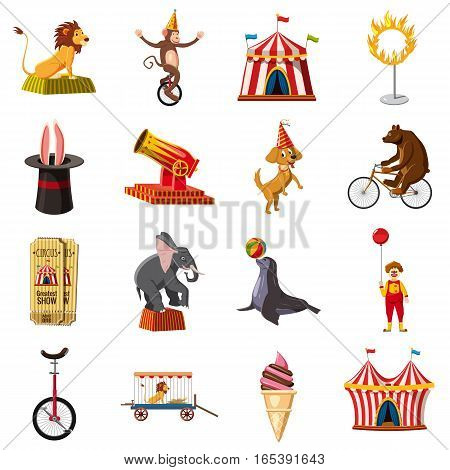 Circus symbols icons set. Cartoon illustration of 16 circus symbols vector icons for web