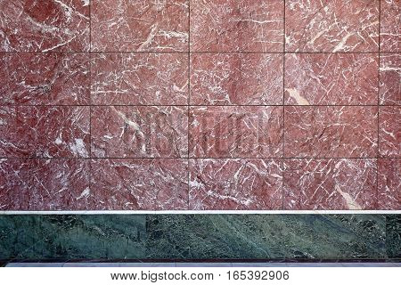 Luxury Marble Tile Wall in Burgundy and Green