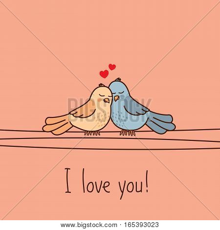 Valentine's Day greeting card with two cute cartoon love birds