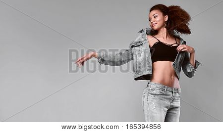 Glamor Elegant Black Woman Model In Jeans And Jacket