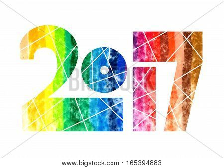 Year 2017 Rainbow Watercolor Design Typeface Illustration