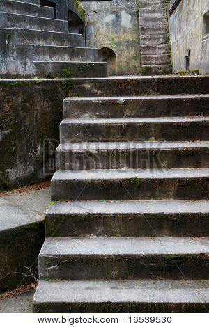 Fort Worden old artillery bunker moss covered steps