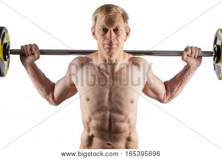 Man With Naked Torso With Barbell On Shoulders