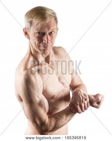 Man In Pose Side Chest Isolated On White
