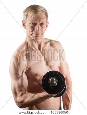 Man With Naked Torso Standing With Dumbbell In Hand