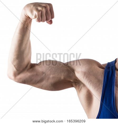 Man's hand with a strained bicep isolated on white background