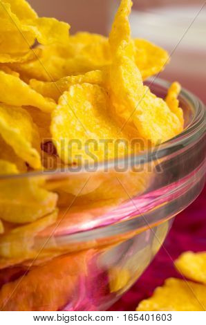 Defocused And Blurred Macro View Of Yellow Cornflakes