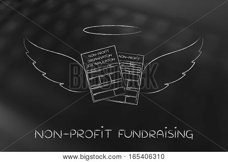 Nonprofit Organization Enrollment Or Fundraising Forms With Angel Wings