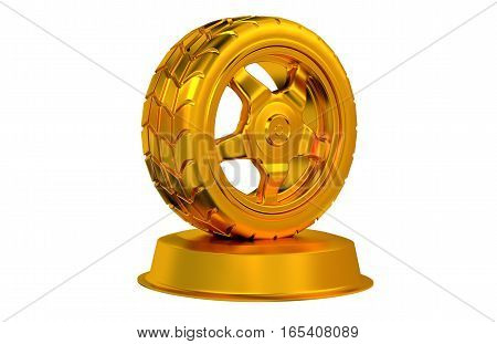 3D illustration of Sport Wheel Golden Trophy with white background