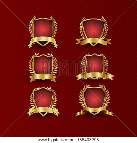 Gold and red shield collection realistic vector set