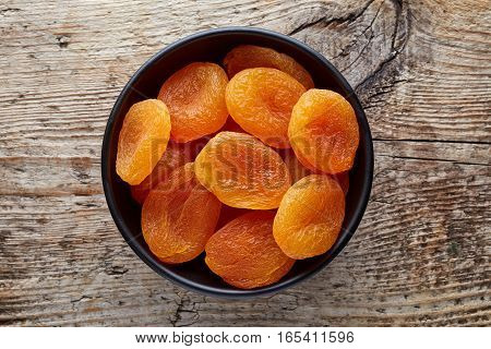 Bowl Of Dried Apricots From Above